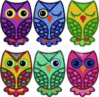 Set of six motley owls