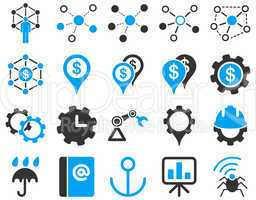 Business links and industry icon set.