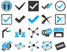 Agreement and trade links icon set.