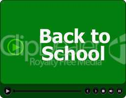 Back to school words on media player isolated on white, education concept