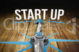 Start up against wooden table