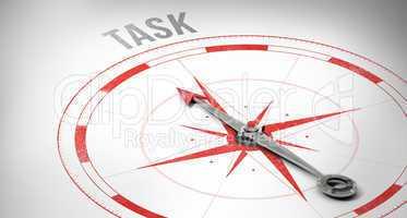 Task against compass arrow