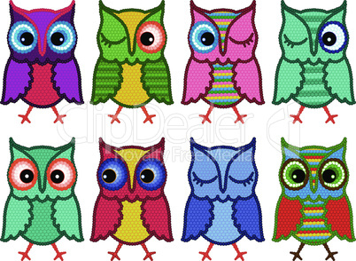 Set of eight amusing motley owls