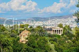 Panoramic view of the city of Athens in Greece with historical monument
