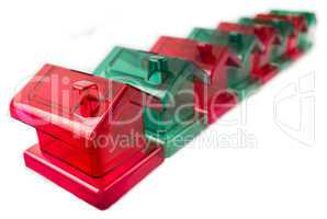 row of plastic houses
