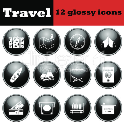Set of travel glossy icons