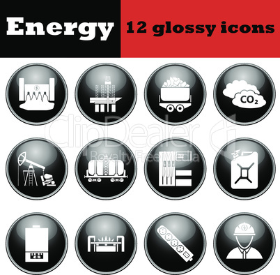 Set of energy glossy icons
