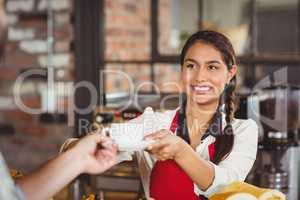 Smiling waitress serving a client