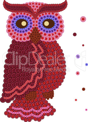 Colour owl made from many buttons