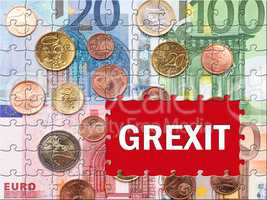 Grexit - Greek Exit - Euro bank notes with text