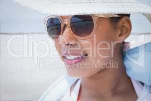 Stylish woman in hat and sunglasses