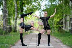 Warm-Up of Teen Rhythmic Gymnasts