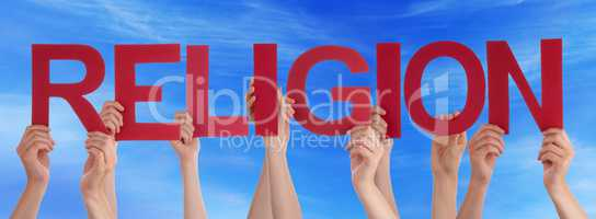 Many People Hands Holding Red Straight Word Religion Blue Sky