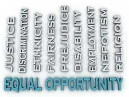 3d image Equal opportunity issues concept word cloud background
