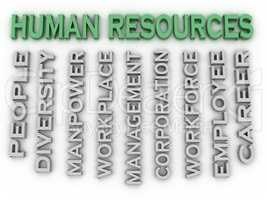 3d image Human resources issues concept word cloud background