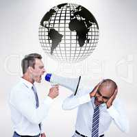 Composite image of businessman yelling with a megaphone at his c