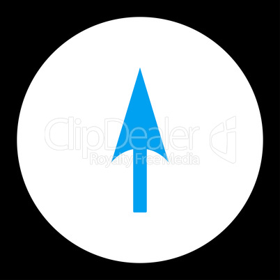 Arrow Axis Y flat blue and white colors round button