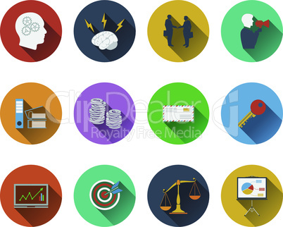 Set of business icons in flat design