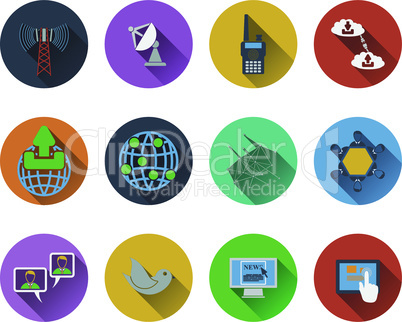 Set of communication icons in flat designg