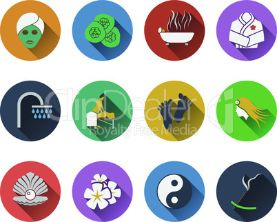 Set of spa icons in flat design