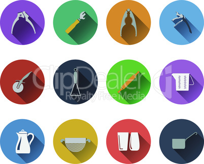 Set of utensils icons in flat design
