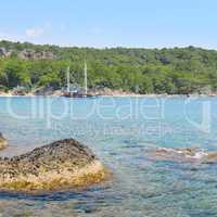 beautiful seascape and pleasure boat