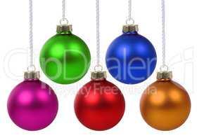 Bunte Weihnachtskugeln Weihnachten hängen Freisteller