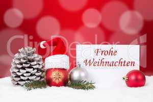 Weihnachtskarte mit Mütze Frohe Weihnachten Dekoration mit Schn