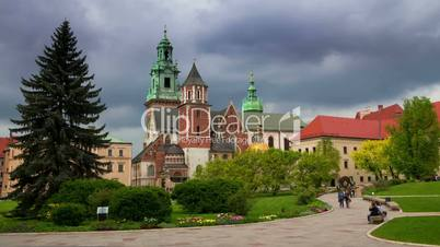 Tourists in Wawel Royal Castle. Time Lapse