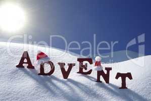 Advent Mean Christmas Time Snow Santa Hat Blue Sky