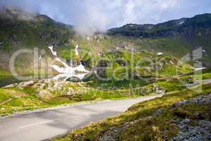Idyllic view with on Balea Lake shore seen from Transfagarasan r