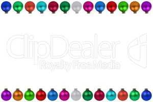 Weihnachten viele bunte Weihnachtskugeln Rahmen Freisteller