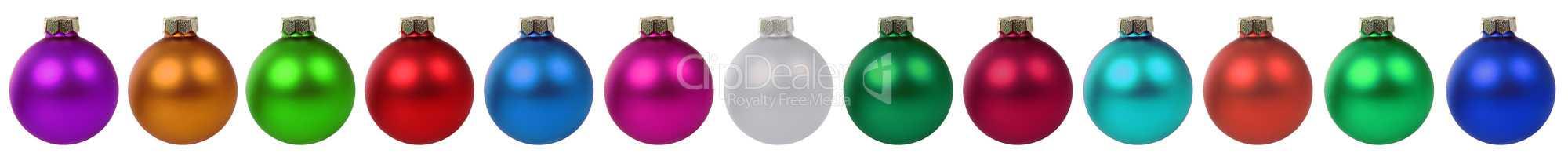 Weihnachten viele bunte Weihnachtskugeln Dekoration Freisteller