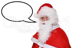 Weihnachtsmann Nikolaus Weihnachten beim sprechen mit Sprechblas