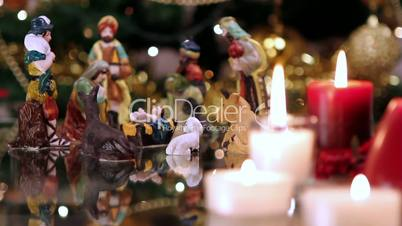Christmas nativity scene with candles