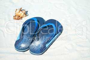 Flip Flops und Muschel liegen am Sandstrand