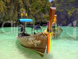long tail boat, geschmückt, Band, schön, Schmuck,