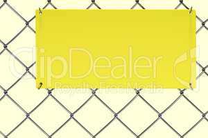 Empty plate on the chain-link fence