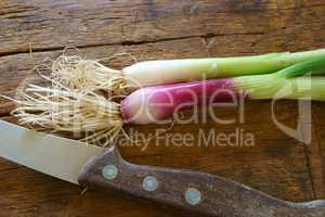 Frühlingszwiebeln und Messer auf einem Holzbrett