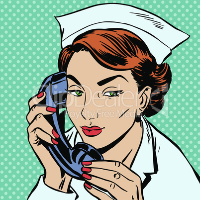 nurse reception Desk talking phone