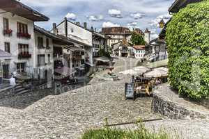 Main street in Gruyeres village, Fribourg, Switzerland