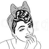 pop art cute retro woman in comics style in black and white