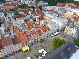 Downtown in Lviv, Ukraine