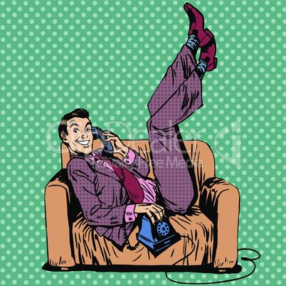 Lazy man sofa talking phone