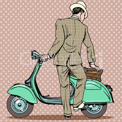 The man gets a scooter