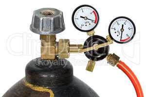 Gas pressure regulator with manometer, isolated on white backgro