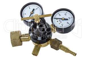 Gas pressure regulator with manometer, isolated with clipping pa