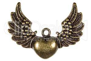 Heart with wings, a symbol of romantic relationships, decorative