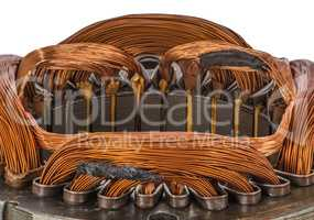 Closeup detail on an electric machine winding, isolated on white