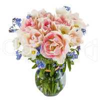Bouquet of flowers in a vase, tulips and forget-me-not, isolated